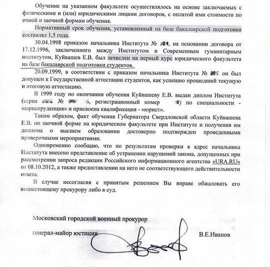 Диплом губернатора Куйвашева: