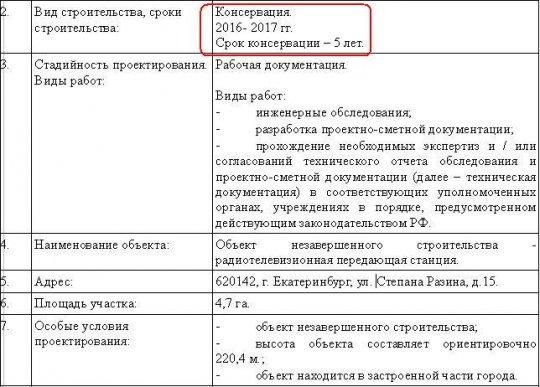 Телебашня в Екатеринбурге останется недостроенной еще на 5 лет